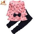Monkids Baby Girl Set en forma de Corazón de Impresión Arco Lindo 2 UNIDS Niño Conjunto camiseta + Pantalones Princesa Linda Ropa niños Set Ropa de Recién Nacido