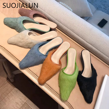 SUOJIALUN Women Fluffy Fur Slippers 2019 Brand Pointed Toe Slip On Mules Thin Low Heels Woman Outdoor
