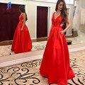 New Arrival Sexy Red Prom Vestidos Longos 2017 Com Bolso de Cetim Com Decote Em V Sem Encosto Moda Feminina Evening Partido Vestidos Custom Made