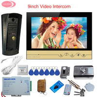 Video Surveillance For The House 9'' Video Intercom System Unit + Waterproof Camera Video Doorbell + Rfid Cards Electronic Lock