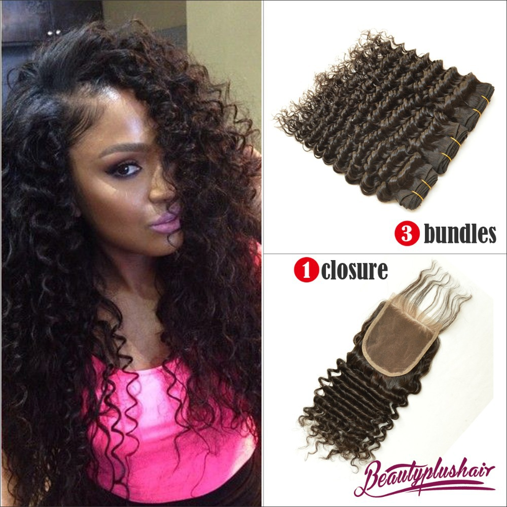 3Pcs Malaysian Curly Hair Weave With1 Pc Silk Base Lace Closure 4Bundles  Malaysian Virgin Hair With Closures Bleach Knots a66e84cafe02