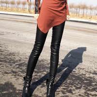 Echtes Leder Hosen Für Frauen Hohe Qualität Stretch Echtem Leder Legging Hohe Taille Leggings Stretch Dünne Schwarz Hosen Damen