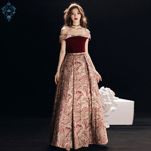 цены Ameision Red Velour Long Evening Dresses Party A Line Off shoulder Sleeveless Beautiful Women Prom Formal Evening Gowns Dress