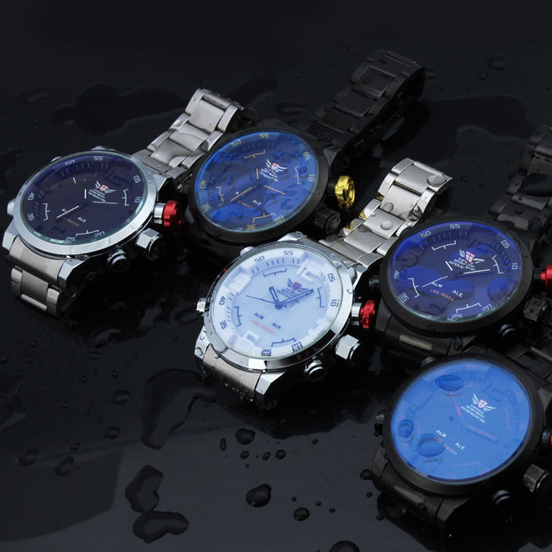 dual time display watch men top brand