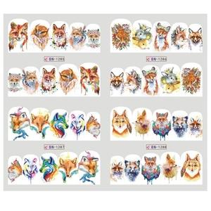 Image 2 - 12pcs Cute Animal Full Wraps Nail Stickers Water Decals DIY Fox Wolf Owl Rabbit Transfer Cartoon Decoration Slider JIBN1285 1296