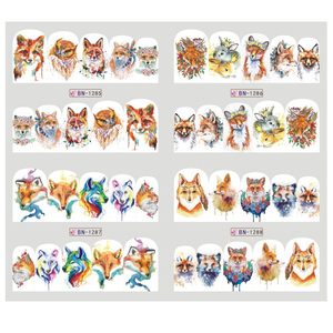 Image 2 - Adesivos de decoração para unhas 12pçs, adesivos bonitos para unhas, decalques de água, diy, raposa, wolf, coruja, desenho animado, deslizante de decoração JIBN1285 1296