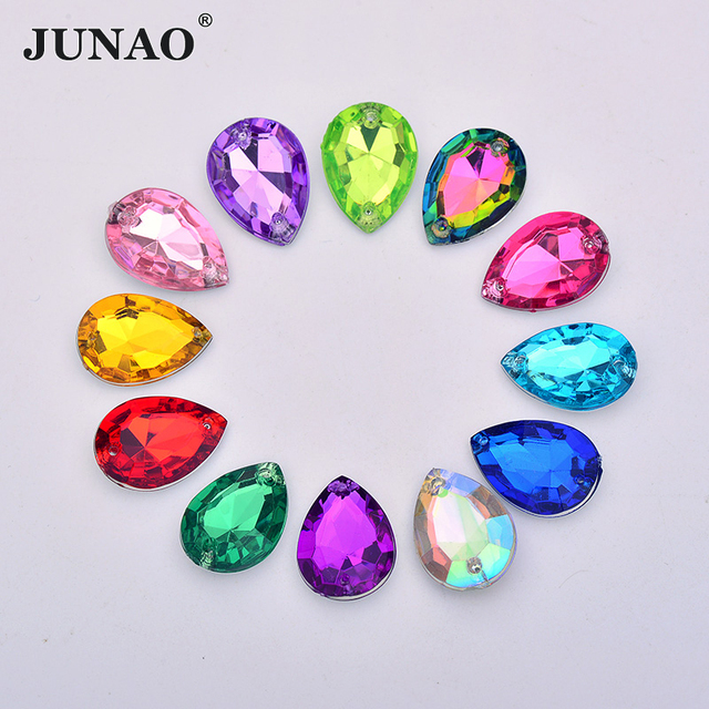JUNAO 18 25mm Sew On Mix Color AB Crystals Drop Rhinestone Applique  Pointback Large Acrylic Gems Sewing Crystal Stones for Dress 0e8b88f14d41