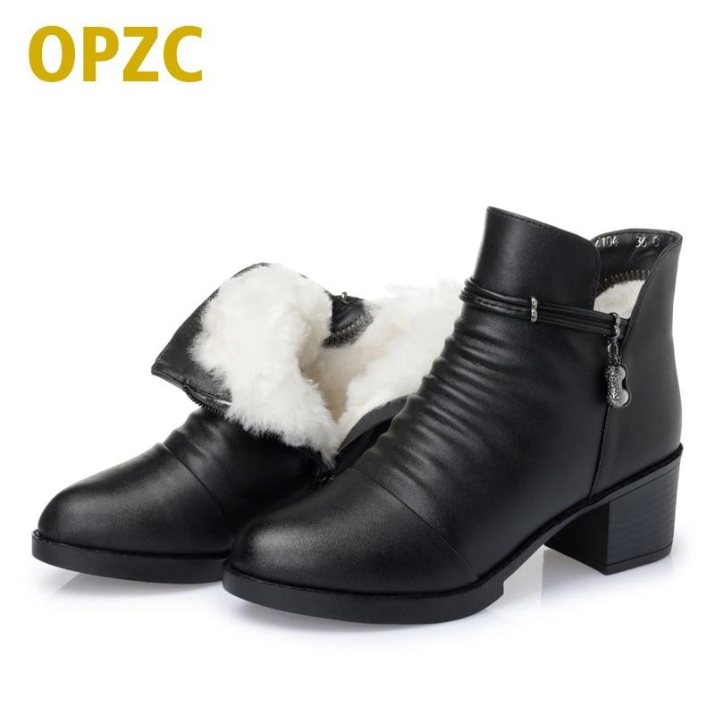 OPZC 2018 новый на осень-зиму натуральная кожа женские ботинки теплый шерстяной подкладк ...