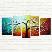 5 pcs/set Large Canvas Art Abstract tree Oil Painting Wall Decor hand painted Pictures