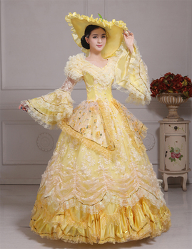 yellow lace beading belle cosplay medieval dress with hat Renaissance gown Sissi princess Costume Victorian/Marie Belle Ball