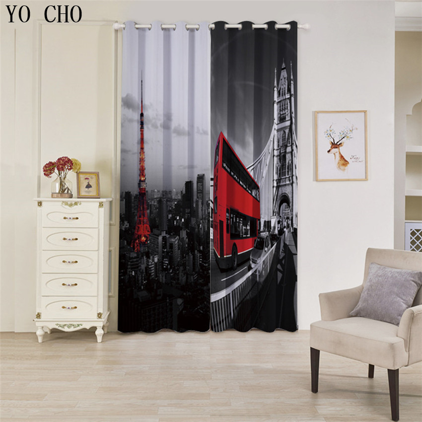 US $69.79 35% OFF|YO CHO Bus Iron tower rideaux pour le salon moderne  Blackout Curtains for Living Room Bedroom Window luxury hotel curtains-in  ...