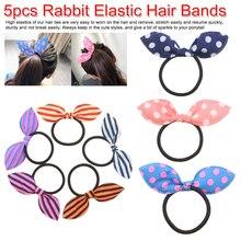 Cute Headdress Flower Bows Hair Hoop 5Pcs/Lot Korean Fresh Elastic Bands Girls Accessories Bunny Rabbit Ears Scrunchy