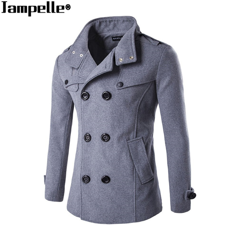 2017 Neue Herbst Winter Herren Woll Mantel Zweireiher Zipper Design Business Mann Woolen Tuch Wärme Mantel Windbreaker Guter Geschmack