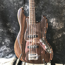 Free shipping Good sound Starshine JAzz Bass electric guitar zebra wood body and neck  все цены