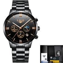 Watches Men Luxury Brand LIGE Chronograph Men Sports black Watches Waterproof Full Steel Quartz Men's Watch Relogio Masculino