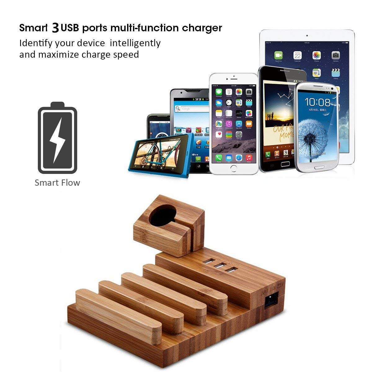 Image 5 - USB Charging Station Bamboo Wood Tablet Charger Multi USB Charging Dock Magnet Watch Charging Stand 3 USB Ports 5V/3A for Phone-in Mobile Phone Chargers from Cellphones & Telecommunications