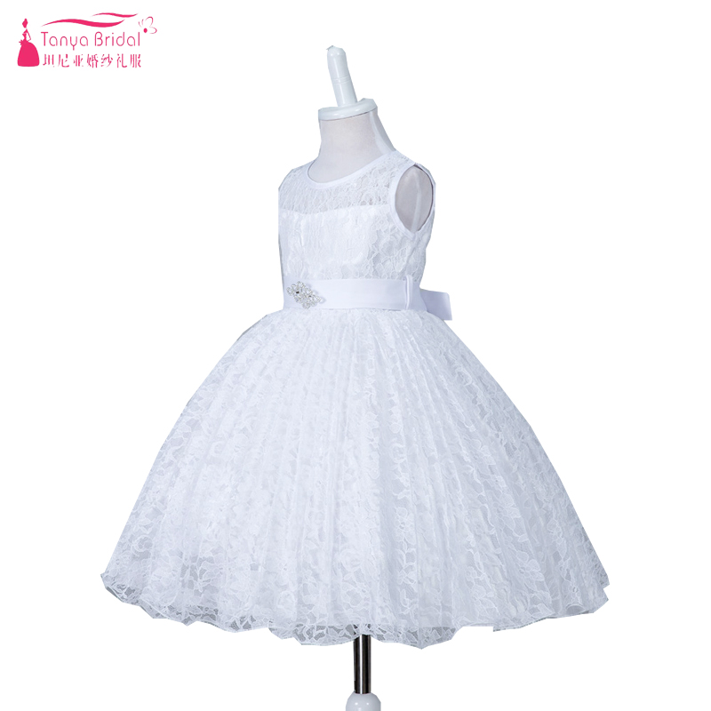 White Lace Ball Gown 2018 Real Photo   Flower     Girls     Dresses   With Crystal Belt 6 color Kids Pagent   Dress   Cummunion Wear ZF036