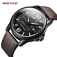2017 New Product Ristos Mens Watches Top Brand Soft Leather Strap Date Week Display Wrist Watch