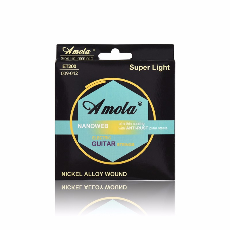 3sets Amola ET200 009-042 Electric Guitar String Super Light NAN Bright Tone Round Wound Ulra Thin Coating Guitar Accessories