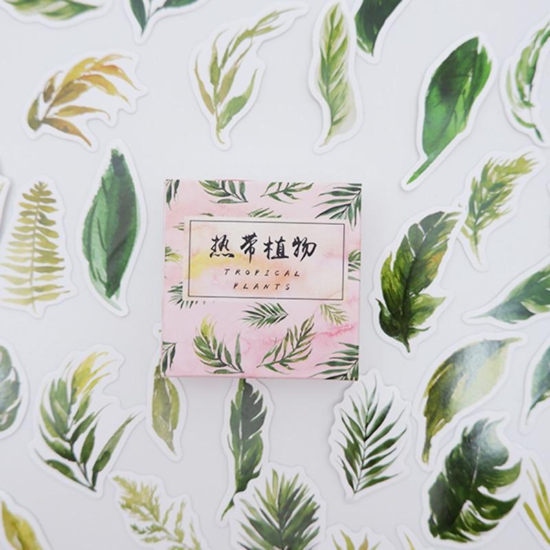 Купить с кэшбэком 40pcs/lot Tropical plants Paper sticker DIY decoration sealed envelope Scrapbooking Sticker Stationery kawaii label stickers