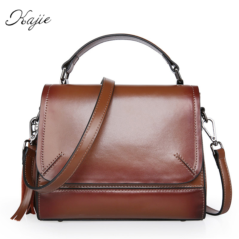 Kajie 2017 Vintage Genuine Leather Handbags Luxury For Women Messenger Bags Bolsa Femininas Crossbody Designer Shoulder Tote chispaulo 2017 women genuine leather handbags cowhide women s messenger shoulder bags crossbody bolsa femininas tassel new c137