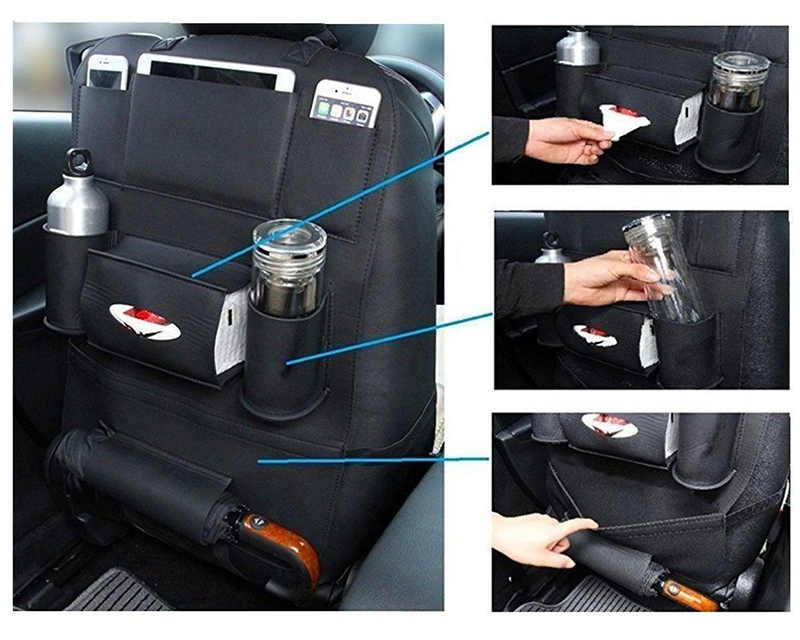 Luxury Car Organizer Back Seat Hanging Storage Pocket PU Leather Seat Back Storage Bag for  Car Accessories Car Seat Organizer
