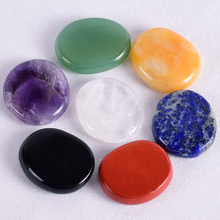 Natural chakra set stone palm 30*25*7 mm crystal mineral quartz polishing slice meditation spiritual Reiki Healing energy