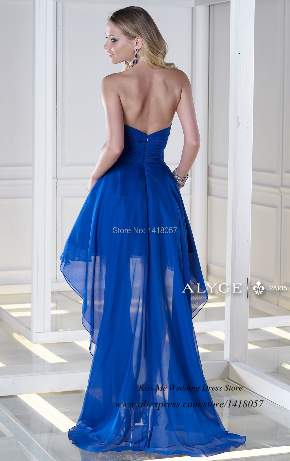Hot Sell Royal Blue High Low Prom Dresses 2015 Chiffon Pageant Gowns ...