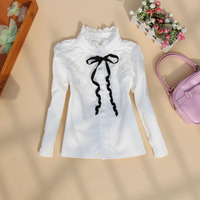 Autumn New Children S Cute Clothes Kid Girls White Shirt High Collar Cotton Tops And Blouses