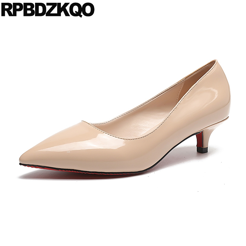 Women High Heels Pumps Office Nude Shoes Formal Pointed Toe Kitten Work 2017 Patent Leather Ladies New Spring Fashion Autumn women in the summer of 2018 the new patent leather nude wedges pointed toe pump work shoes leisure women plus size 35 40 a23