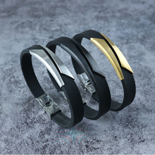 2019 New Jewelry White Silicone Bracelet Bangle Stainless Steel Bracelets Men Wristbands