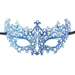 Удивительные маски венецианских маскарадов качества венецианские черные винтажные серебряные блестящие металлический лазерный разрез Вечерние Маски драгоценные камни - Цвет: blue glitter