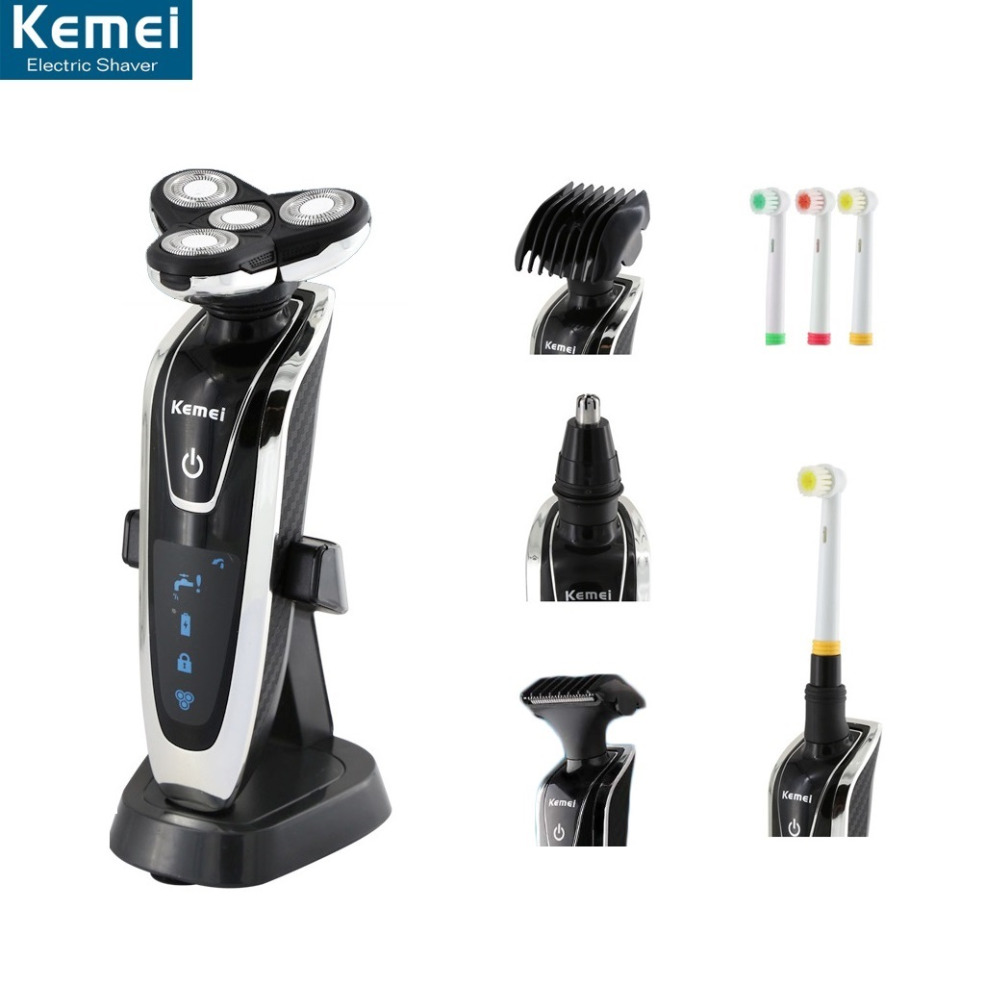 Electric Shaver Washable 4 Head Rechargeable Men Razor 4 Blade Shaving Razors Face Beard Care 4D Floating Trimmer barbeador independent dual blade portable rechargeable electric shaver razor beard shaving machine barber face care men cutter trimmer 40