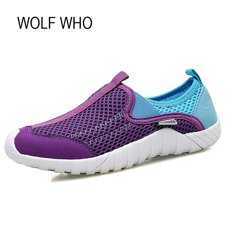 Wolf Who Summer Women Air Mesh Water Breathable Beach Shoes Platform Casual Ladies Krasovki Slipony Slip On Loafers Female x406 2017 summer style women casual shoes swing shoes flat breathable air mesh fashion shoes platform feminino slip on red 40 lesiure