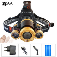 IR Induction Rechargeable Head Torch 12000Lm 3 XML T6 LED Headlight Lamp Zoom 5 Mode 18650