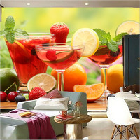The custom 3D murals,all kinds of fresh and delicious fruit cocktail, cafe wall restaurant kitchen dining room wall wallpaper