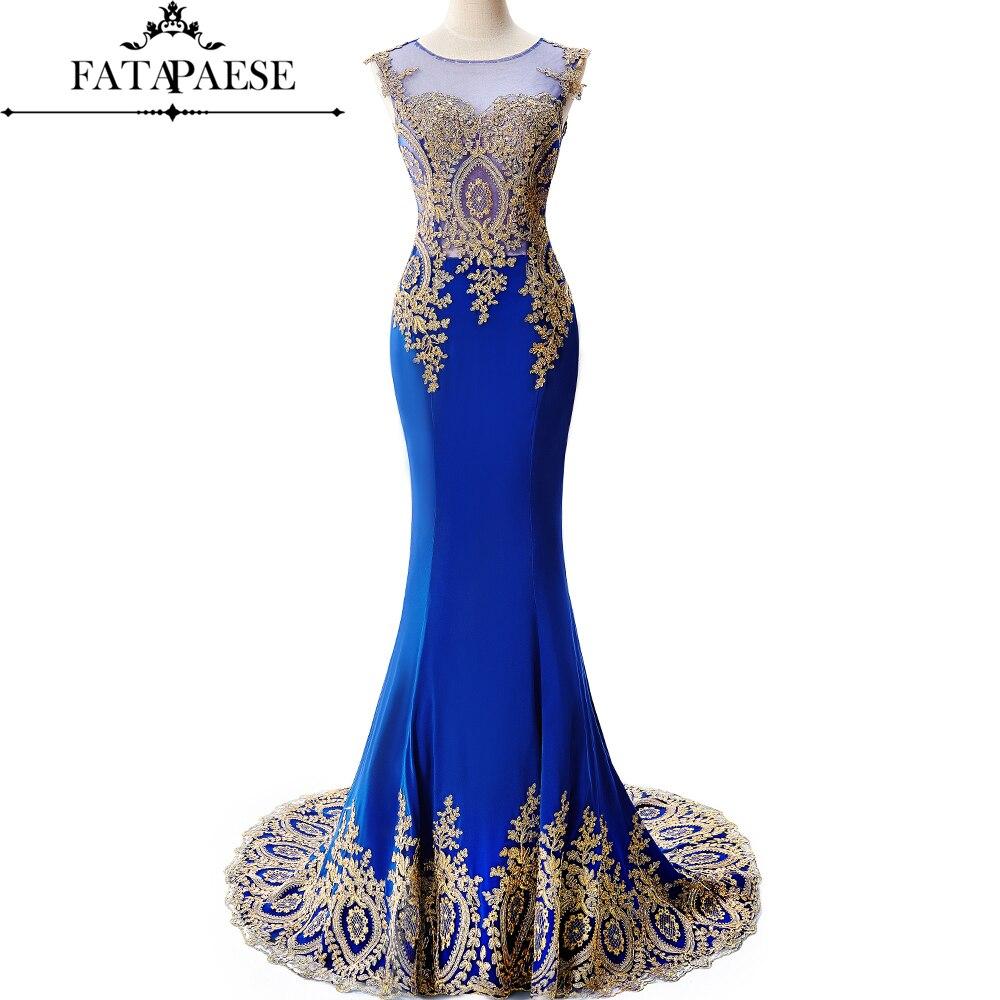 Photo réelle bleu Royal longues robes de soirée sirène 2019 dos transparent or Applique robe de soirée robe formelle robe de soirée de bal