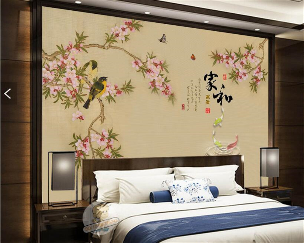Beibehang Chinese Fashion Wallpaper Simple Atmosphere Home And Rich Chinese  Plum TV Backdrop Papel De Parede