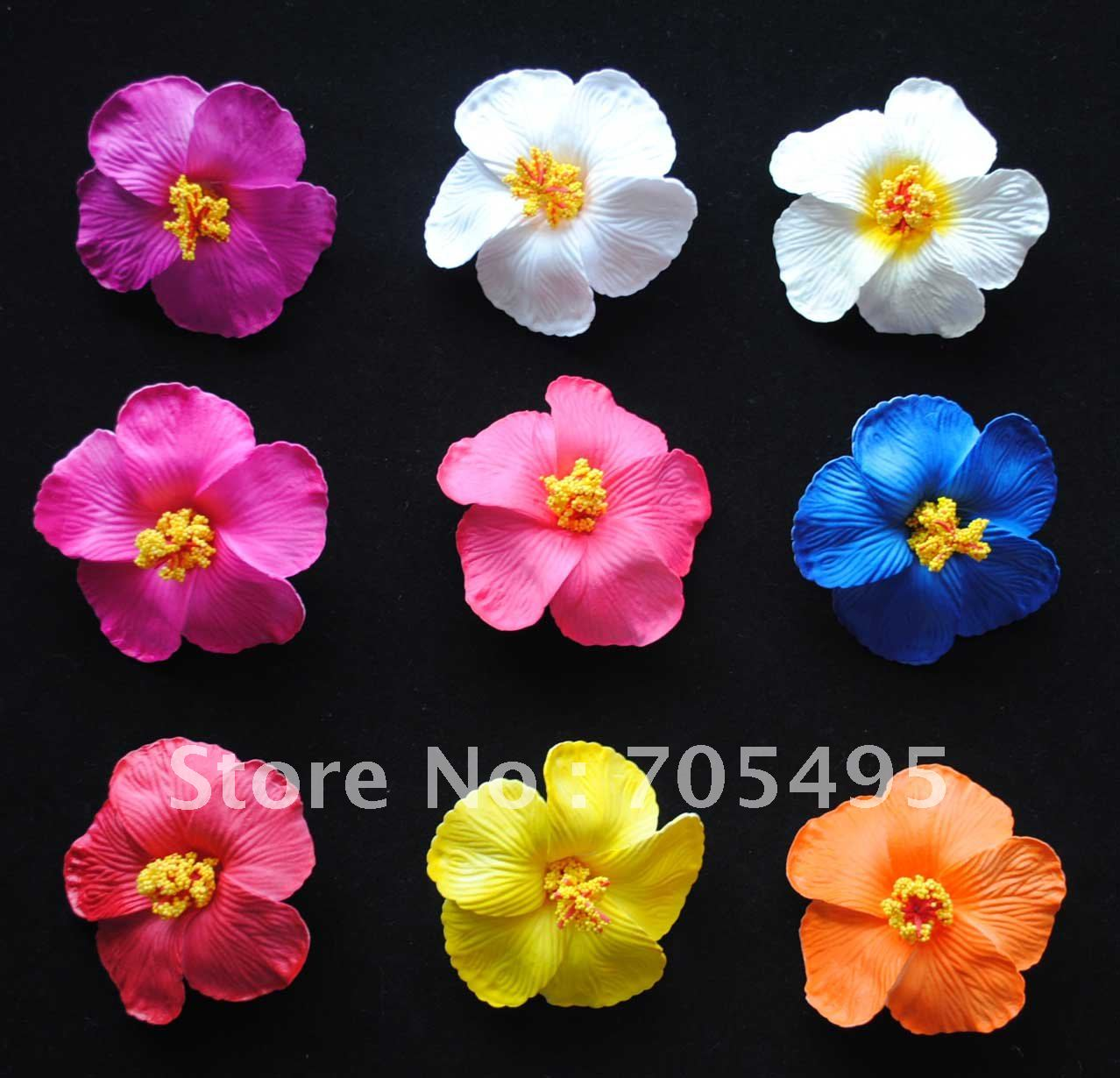 Free Shipping 450pcs 9 Colors Mixed 9cm Hibiscus Hawaiian Foam