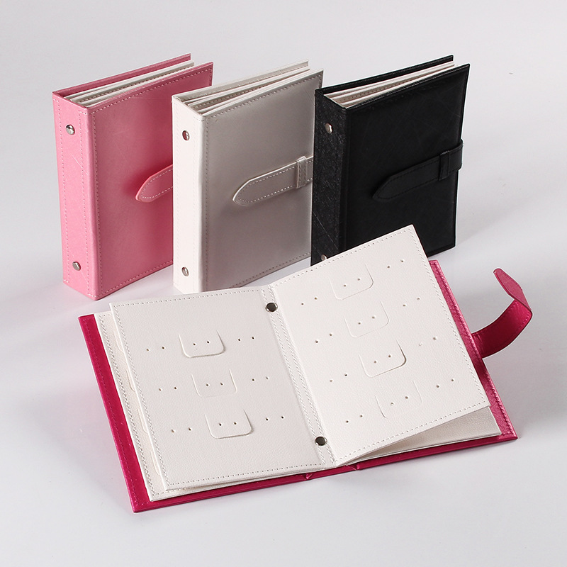2018 Pu Leather 42 Pairs Stud Earrings Collection Jewelry Book Portable Jewelry Page Jewel Display Creative Jewelry Storage Box