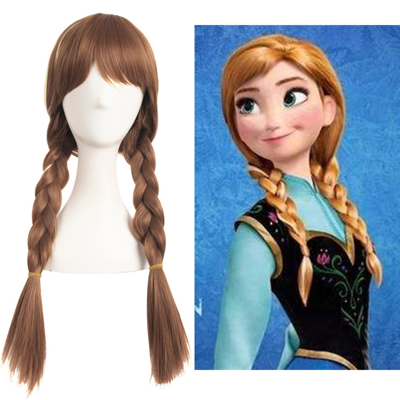 Frozen Anna Mixed Brown Anime Costume Cosplay 70cm Curly Wig Halloween Costumes Party Ladies Ponytail Hair Wig + Wig Cap
