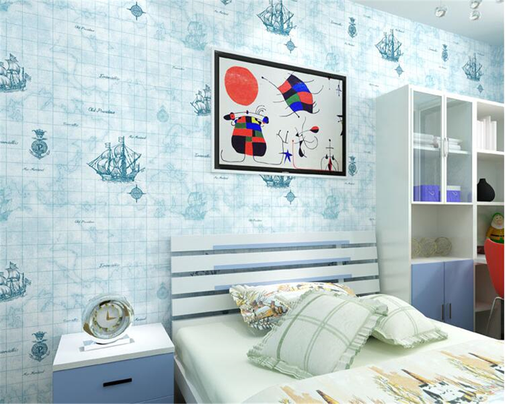 US $48.3 |beibehang Mediterranean fashion blue children room wall paper men  and girls bedroom nonwoven sailboat British sea 3d wallpaper-in Wallpapers  ...