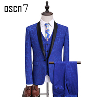 OSCN7 Gedrukt 3 STKS Blauw Mannen Pakken 2017 Nieuwe Merk Mode Party Stage Slijtage Pak Mannen Plus Size Leisure Slim Fit Tuxedo 5XL