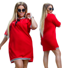 2019 New Women Dress Plus Size 6XL Oversized Stand Polo Dresses T Shirt Female Summer Short Sleeve Straight Polo Vestidos