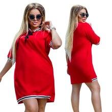 2019 New Women Dress Plus Size 6XL Oversized Stand Polo Dresses T Shirt Female Summer Short Sleeve Straight Polo Vestidos