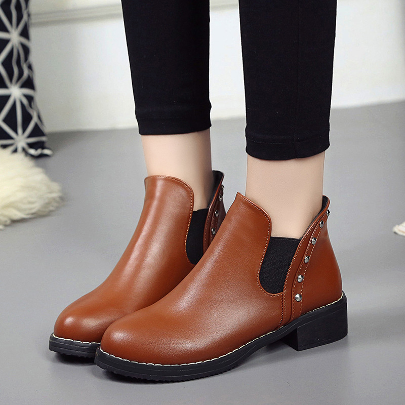 GOXPACER Autumn Boots Women Ankle Boots Rivet Thick Heels All Match Casual Boots Slip On British Style Metal Color Free Shipping