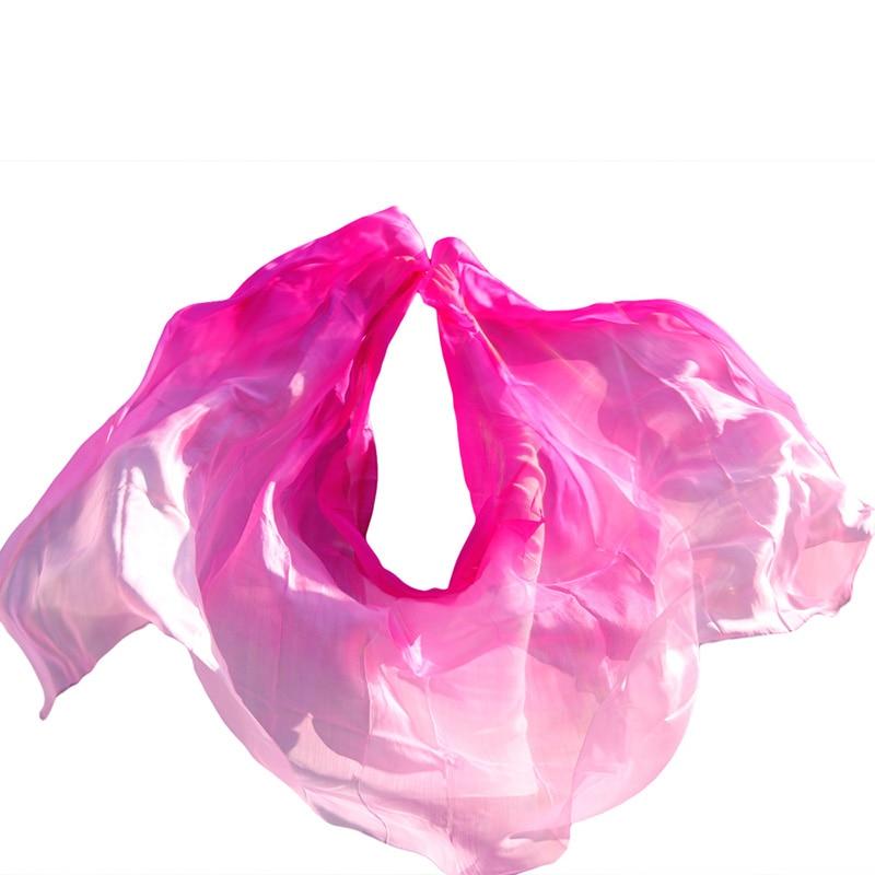Silk Belly Dance Veil Belly Dance Shawl Scarf Rose+Light rose+Pink Colors Belly Dance Practice Performance Silk Veils 250*114 cm