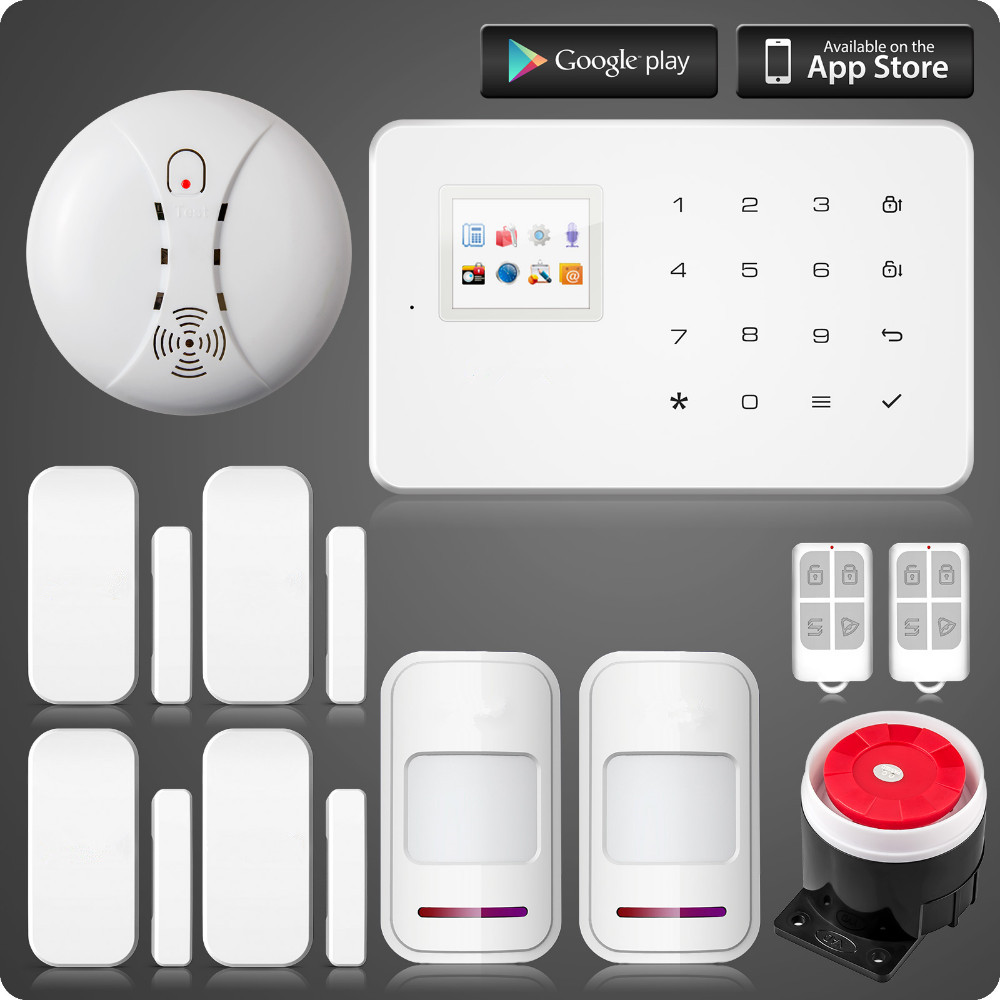 G18 wireless zones app control GSM alarm system with touch screen TFT color display home alarm system PIR Motion Sensonr gs x1 2 7 screen app control 4 channel wireless gsm home alarm system white black us plug
