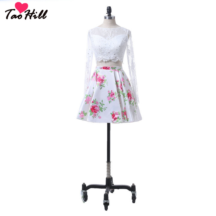 TaoHill Flower Print Wedding Guest   Dress   Long Sleeves Two Pieces   Dress   Mini Flower with Beads Lace Party Gown   Bridesmaid     Dress