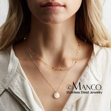 e-Manco Gold Color Stainless Steel Necklace women Coin Pendant Choker Necklace for women Charm Necklace(China)